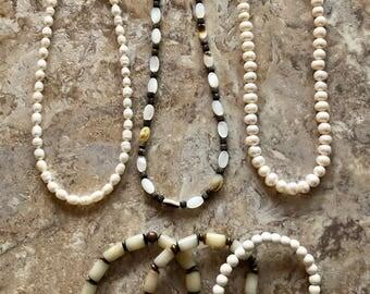 Creamy Pearl Necklace Set