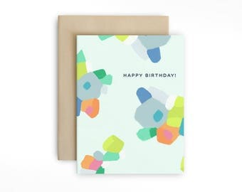 Modern Abstract Floral Birthday Card - Happy Birthday Card