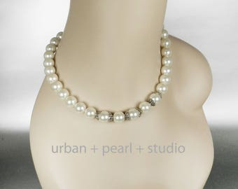 Ivory Pearl Necklace Mother of The Bride Jewelry Chunky Pearl Choker Bridesmaids Jewelry Necklace