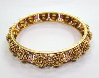 Vintage antique solid 19K Gold Jewelry Bracelet Bangle Rajasthan India