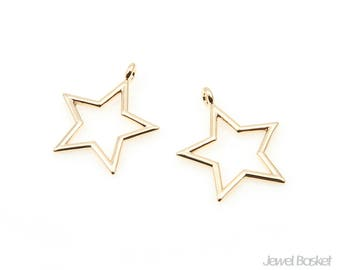 Star Pendant Outline in Gold - 2pieces of Star Outline / 16k Shiny Gold / 14.5mm x 17.0mm / BG343-P (2pcs)