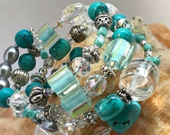 Beaded Wire Wrap Turquoise Bracelet