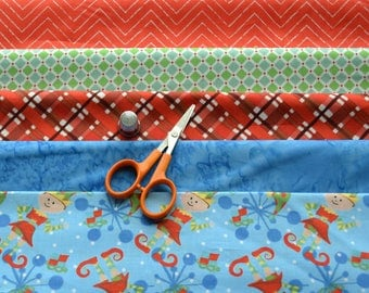 Christmas Fabric Bundle, 5 Fabrics/Elf Fabric, Blue Batik, Red Plaid, Chevron/Cotton Sewing Material/Quilting, Clothing, Craft
