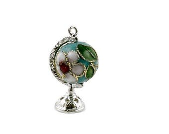 Sterling Silver & Turquoise Cloisonné Globe Charm For Bracelets