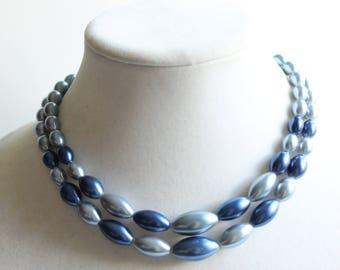 Vintage Blue Beaded Necklace, Double Strand, Retro Costume Jewelry, Circa 1960's