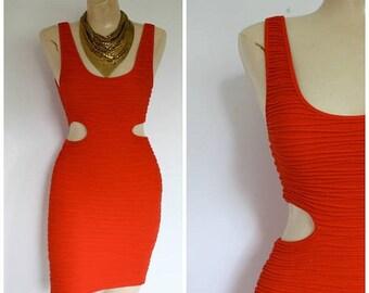Sale Vintage 90s Body Con Dress / 1990's Open Waist Mini Dress / Blood Orange Festival Dress / Vtg 90s Dress / Ruched Wiggle Dress XS/S