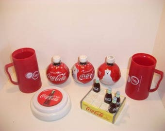 Coca-Cola Collectibles, Insulated Mugs, Round Bottles, Vintage Salt and Pepper Shakers, Ceramic, Coca-Cola Push Light, Home and Living