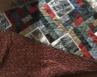 Found these panel pictures and fell in love with them. Did the quilt in warm cuddling colors
