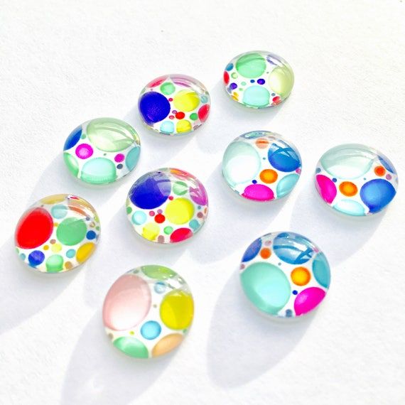6 Pieces. Glass Dome Polka Dot Cabochon Round Flat back Mixed Color 12 mm wide. Craft Supplies. DIY Supplies