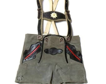 Vintage Echt Leder Toddler Boy's Gray Leather Lederhosen Shorts Size 80