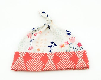 Baby Top Knot Hat (Flower Garden/Coral Feather) ||| baby shower gift, newborn hat, newborn take home outfit, baby jersey hat, knotted hat