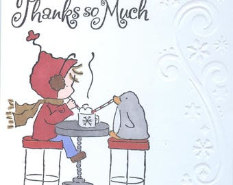 Penguin & Girl Snowflake 'thank you' Notecards (Set of 5) #221