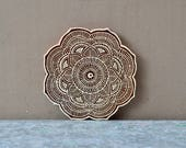 Flower mandala wood block textile stamp finely carved traditional Indian Henna fabric printing