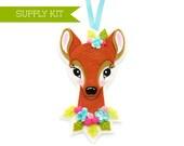 Felt Ornament Kit, PDF Pattern, DIY Ornament Kit, Reindeer Ornament, Christmas Ornament, Felt Animal Pattern, Deer Pattern, Felt Flowers