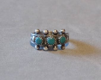 Vintage Turquoise Baby Ring Sterling Silver Native American Indian Size 1 SANFORD Bell Trading Post Navajo Jewelry Very Small Size