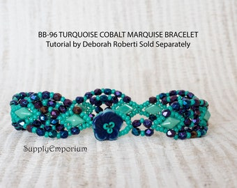Bead Pack BB-96 Cobalt and Turquoise for Marquise Bracelet, Tutorial by Deborah Roberti Sold Separately, BB96 Marquise Bead Pack
