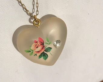 Exquisite 1920's Frosted Glass Heart Necklace w/Rose Bud & Rhinestone