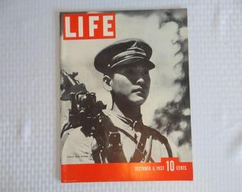 Vintage 1937 Life Magazine December 6,  Fatalist with Machine Gun - Japanese Soldier