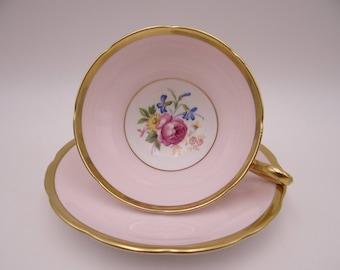 Beautiful Vintage Taylor and Kent English Bone China Pink Teacup and Saucer set - English Teacup - 246