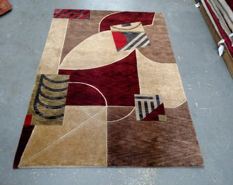 CLEARANCE 1990s Art Deco Style Hand-Knotted Nepalese Rug (3665)