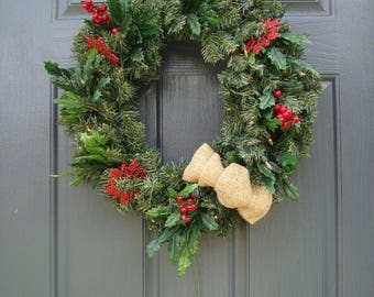 30% OFF ON SALE Prelit Wreath, Evergreen Wreath, Christmas Holly Wreath, Double Doors, Plug In Wreath
