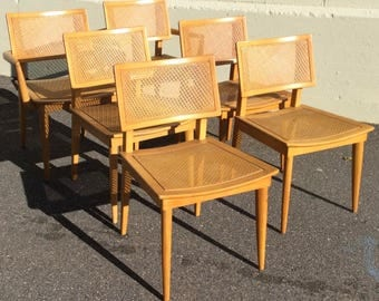 M1563 Heywood Wakefield Set Dining Chairs 6 , Rare Press Cane Weave