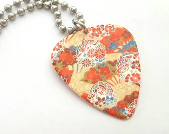 Bright Design Guitar Pick Necklace with Stainless Steel Ball Chain - Design with Butterflies and Flowers