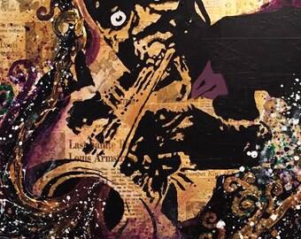 """16""""x20"""" Mardi Gras Louis Armstrong Original Painting"""