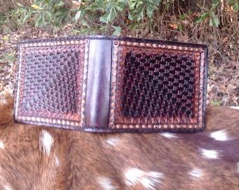 Handmade Leather Bi-fold Wallet for Men with Money Pocket