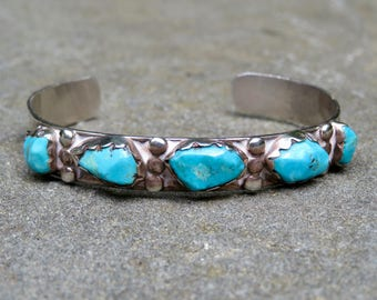 Turquoise and silver Row Bracelet, Vintage Native American Turquoise Cuff, Hand Made Navajo Turquoise Jewelry, Sterling and Turquoise Cuff