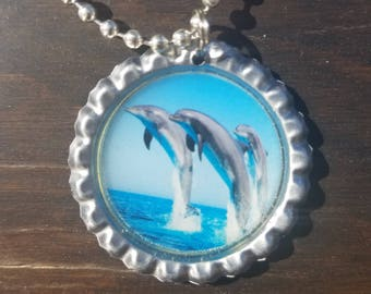 3 Dolphins Jumping Gorgeous Bottle Cap Necklace with Chain