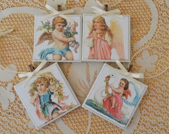 4 piece ceramic tile Christmas tree ornament set in a gift box Angels clearance sale