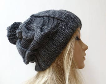 Grey Slouch Cable Pom Pom Hat - Women Knit Hat -  Hand Knitted Hat - Dark Grey Soft Cabled Bobble Hat - Slouchy Aran Hat -Clickclackknits