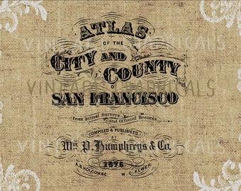 Vintage ephemera San Francisco Atlas Digital download graphic image for iron on fabric transfer burlap decoupage pillows tote bags No. 882
