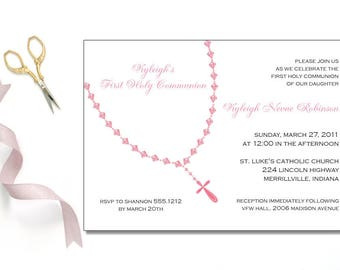 Girls Rosary Beads Invitation | First Communion | Printable Editable Digital PDF File | Instant Download | FCI131DIY