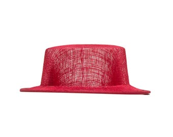 Red Sinamay Top Hat Fascinator Hat Base - Available in 4 Colors