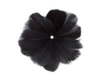 "4 1/2"" Black Feather Flower with Crystal Center - Available in 12 Colors"
