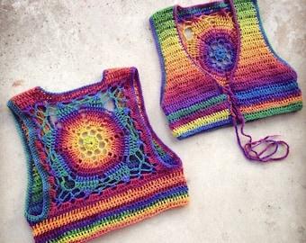 CUSTOM Luna Mandala Vest - 100% wool rainbow vest