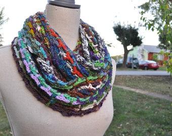 Scrappy Crochet Infinity Scarf // Rainbow Handmade Cowl // Long scarf // Hood