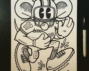 Sharpie Sketch Drawing -  Happy Happy Football Rat