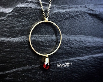 Genuine Garnet Necklace / January Birthstone Necklace / Gold Filled or Sterling Silver Garnet Necklace / Red Garnet Jewelry
