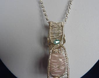 Sterling silver wire wrapped rose quartz pendant