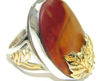 Mookaite Sterling Silver Ring - weight 12.30g - Size 7 - Adjustable - dim L- 1, W - 3 4, T -3 8 inch - code 1-gru-15-23