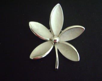 Vintage Crown Trifari Silver tone Plumeria Brooch