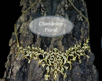 Peranakan Necklace Vintage Style Flower Basket and Chandelier