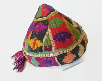 Vintage Hat Cap colorful Uzbekistan Nepalese Himalayan Tibetan