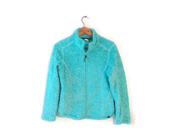 Avalanche Athletic Performance Polar Fleece Jacket size Medium Aqua Zip Front fuzzy
