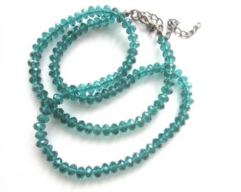 Long Crystal Bead Necklace Teal Green Single Strand 22 - 25 Inches