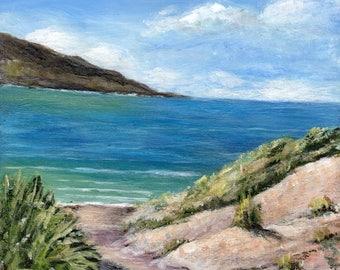 SALE Path to the Sea Beach Ocean Waves SFA   - Original hand painted acrylic seascape painting by Australian Artist Janet M Graham