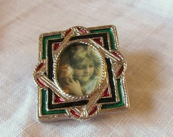 Xmas in July Sale Faux Stained Glass Frame Brooch, Silver Tone Metal Wear a Picture of Your Loved One